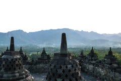 Riga di stupa del tempiale di Borobudur a Yogyakarta, Java, Indonesia Fotografia Stock