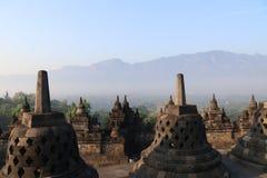 Riga di stupa del tempiale di Borobudur a Yogyakarta, Java, Indonesia Fotografia Stock Libera da Diritti