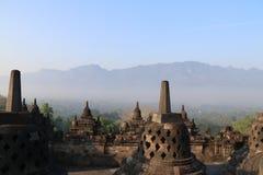 Riga di stupa del tempiale di Borobudur a Yogyakarta, Java, Indonesia Fotografie Stock Libere da Diritti