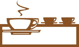 Riga di tazze di caffè Fotografia Stock