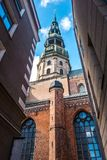 Riga Dome Cathedral tower at sunny day Stock Images