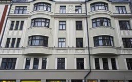 Riga Dzirnavu 63, beståndsdelar av fasaden, Art Nouveau Fotografering för Bildbyråer