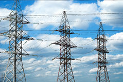 Riga elettrica ad alta tensione Immagine Stock Libera da Diritti