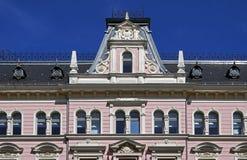 Riga, Elizabetes 15, construindo no estilo eclético, elementos decorativos fotos de stock royalty free