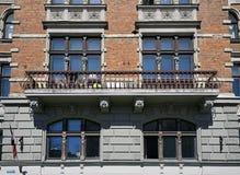 Riga, Elizabetes 7, elementos decorativos da fachada imagens de stock