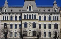 Riga, Elizabetes 17, uma construção histórica com elementos de Art Nouveau e ecletismo imagens de stock royalty free