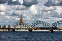 Riga embankment to the bridge on the river and clouds in summer Stock Photos