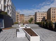Riga en ny grannskap i mitten av staden Arkivbilder