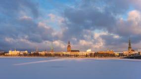 Riga entro l'inverno Fotografie Stock