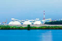 Riga fertilizer terminal. With saltpeter against river coast Stock Image