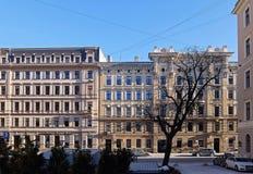 Riga gata Blaumanja 11-15, historiska byggnader Royaltyfria Bilder