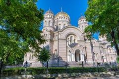 Riga-Geburt Christi von Christus-Kathedrale, Lettland wurde in einem neo--Byz aufgebaut lizenzfreies stockfoto