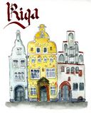 Riga historical houses three sisters stock illustration