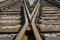Riga incrocio del treno Fotografie Stock Libere da Diritti