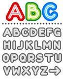 Riga insieme di alfabeto delle lettere Fotografie Stock Libere da Diritti
