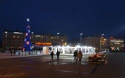 Riga järnvägsstationfyrkant på nytt år Arkivbilder