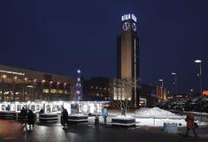 Riga järnvägsstationfyrkant på nytt år Royaltyfria Foton