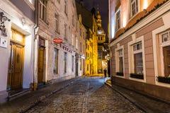 Riga kupoldomkyrka på natten royaltyfri bild