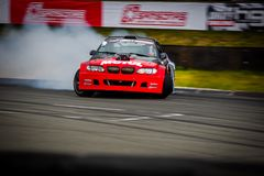 Drift car in motion on the HGK Drift Challenge 2018 Royalty Free Stock Images