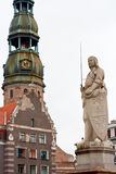 Riga, Latvia. Sculpture of Roland and old architecture. Riga, Latvia Stock Photo