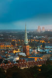 Riga, Latvia. Aerial View Of Cityscape In Summer Evening Or Night Royalty Free Stock Image