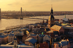 Riga, Latvia: aerial view of Old Town royalty free stock photos