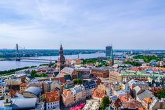 Riga, Latvia. Aerial view on the old town from the tower of the church of St. Peter stock image