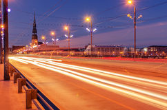 Riga, Latvia: Akmens tilts bridge in the Old Town stock photography