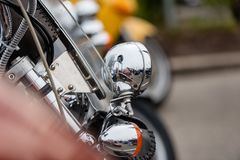RIGA, LATVIA - APRIL 28, 2018: 2018 Moto Season Opening Event. A. Close-up of the most interesting details and attributes of motorcycles parked at the parade stock photography