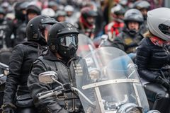 RIGA, LATVIA - APRIL 28, 2018: 2018 Moto Season Opening Event. M. Otorcyclists gather for a parade trip. Motorcyclists meet and talk before the trip stock photo