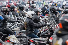 RIGA, LATVIA - APRIL 28, 2018: 2018 Moto Season Opening Event. M. Otorcyclists gather for a parade trip. Motorcyclists meet and talk before the trip stock photography