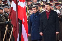 Crown Prince of Denmark Frederik and Raimonds Vejonis, President of Latvia stock images