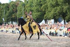 RIGA, LATVIA - AUGUST 21:Dan Naporus from The Devils Horsemen st Royalty Free Stock Image
