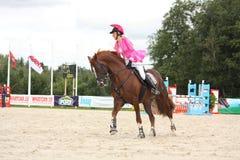 RIGA, LATVIA - AUGUST 12: Latvian rider Ingrīda Lizbovska show Royalty Free Stock Images
