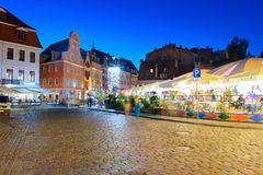 RIGA, LATVIA - AUGUST 08, 2014: Old town Riga at night. Stock Image