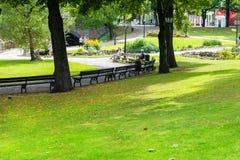 RIGA, LATVIA - AUGUST 7, 2017: park near the Old Town in sunny s Stock Photo