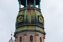 St. Peter`s Church tower. Riga, Latvia. August 25, 2017. St. Peter`s Church tower Sveta Petera Evangeliski luteriska baznica Stock Images