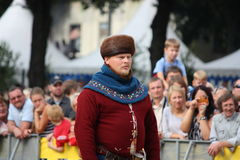 RIGA, LATVIA - AUGUST 21: Unidentified man in medieval costume f Stock Photo