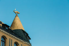 Riga Latvia. Black Cat Sculpture On Turret Taper Rooftop Of Cat House, Royalty Free Stock Image