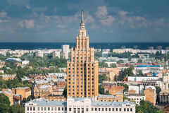 Riga, Latvia. Building of Latvian Academy of Sciences. Aerial. Riga, Latvia. Building of Latvian Academy of Sciences, built on model of Moscow , Stalin royalty free stock photo