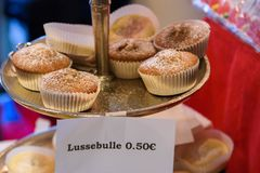 Muffins at Sweden stand Christmas Charity Bazaar, organised by The International Women`s Club of Riga. 01.12.2018. RIGA, LATVIA. Christmas Charity Bazaar stock photography