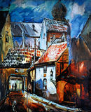 Riga, Latvia, city landscape, water colour. Illustration Stock Photos