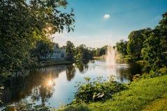 Riga, Latvia. City River Canal In The Park Bastion Hill. Sun Shi Royalty Free Stock Photo
