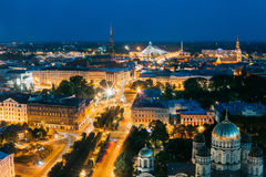 Riga, Latvia. Cityscape With Famous Landmarks St. Peter`s Church Stock Image