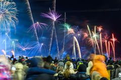 Crowd with people watching Fireworks, light performance `The Life of the Sun`. C stock image