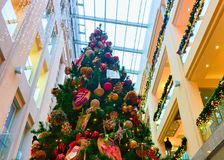 Details of Christmas tree at Riga shopping center. Riga, Latvia - December 29, 2016: Part of the decorated Christmas tree at old Riga, Latvia. Fir tree is Stock Photos