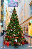 Details of Christmas tree in Riga shopping center. Riga, Latvia - December 29, 2016: Part of the decorated Christmas tree in old Riga, Latvia. Fir tree is Royalty Free Stock Images