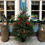 Christmas decoration. Riga, Latvia, December 30, 2017 - Preparing for the Christmas. Exterior Christmas decorations stock images