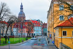 Street view with Castle and Dome Cathedral in Riga royalty free stock image