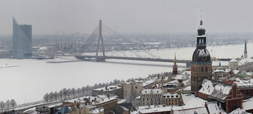 Riga, Latvia, Doms on winter, view (panorama) from St.Peter's Church. Riga, Latvia, Church, river Royalty Free Stock Photo
